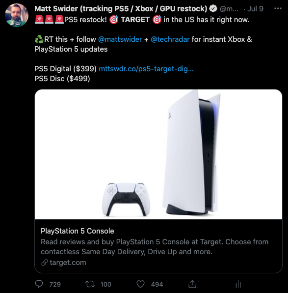 Target PS5 restock alert tweet by Matt Swider